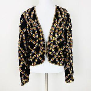VINTAGE Velvet Sequin Embellished Jacket L Black